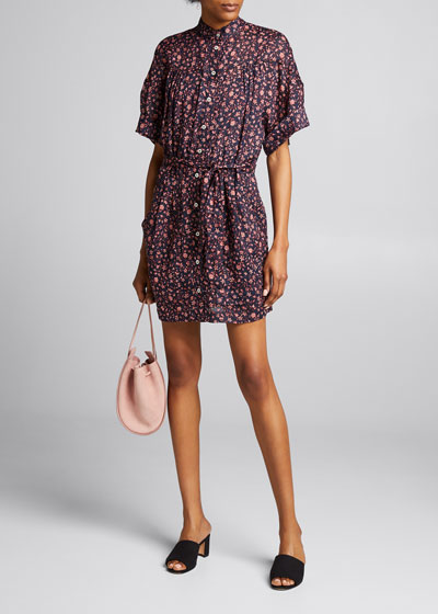 Floral Rolled-Sleeve Button-Down Dress