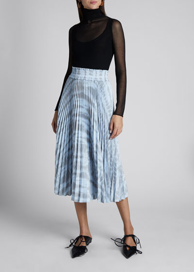 Pleated Tie-Dye Midi Skirt