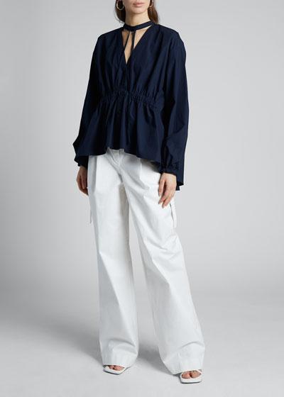 Cotton Shirting Choker Button-Front Blouse