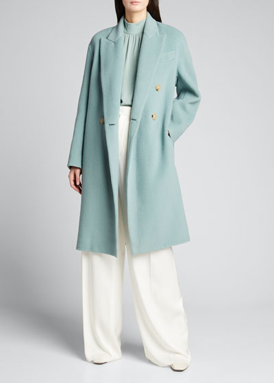 Double-Breasted Oversized Wool-Blend Coat