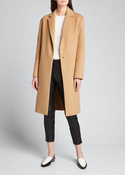 Wool-Blend Single-Breasted Classic Coat