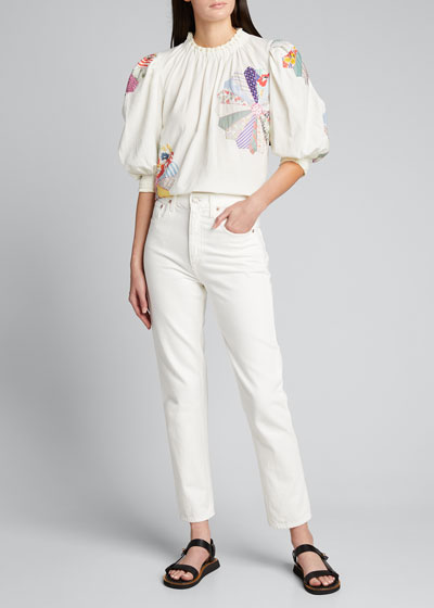 Paloma Puff-Sleeve Patchwork Top