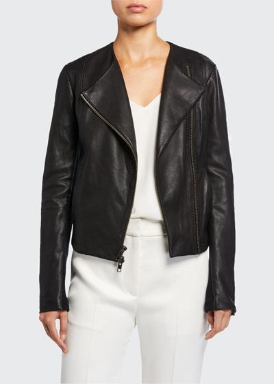 Rib Panel Leather Moto Jacket