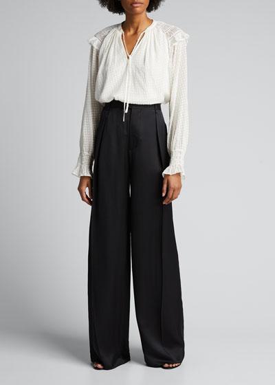 Nova Smocked Long-Sleeve Silk Blouse