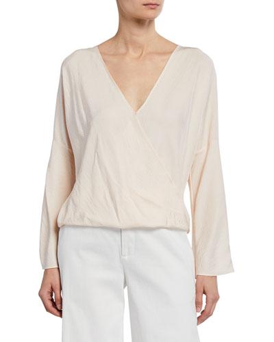 Cross-Front Long-Sleeve Blouse