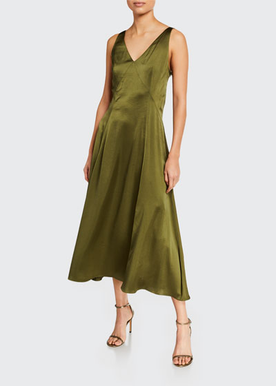 Olive Sleeveless Satin Midi Dress