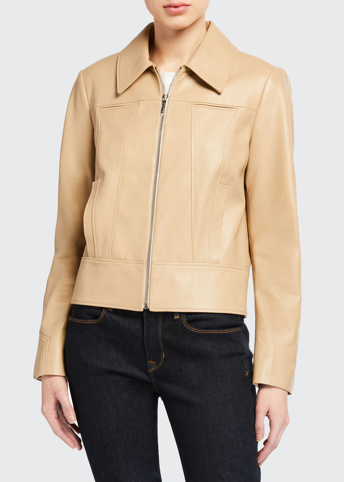 Elie Tahari ADDISON ZIP-FRONT LEATHER JACKET