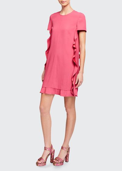 Short-Sleeve Pleated Satin Ruffle Side Dress