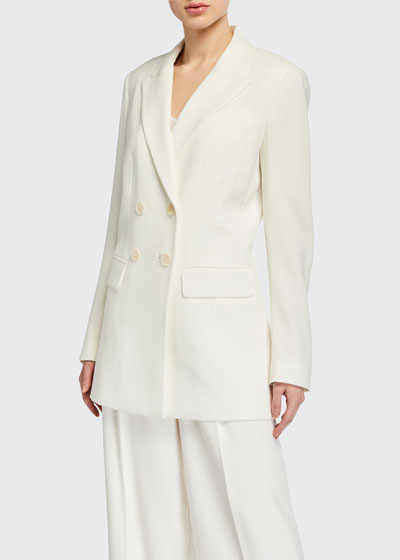 Aster Double-Breasted Crepe Jacket
