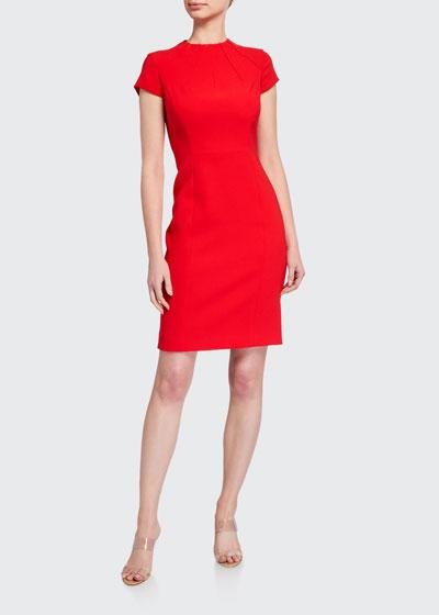 Freida Cap-Sleeve Crepe Sheath Dress