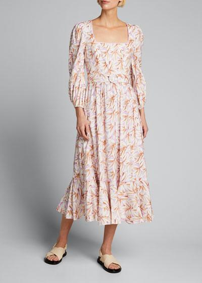 Ella Floral Linen Belted Midi Flounce Dress