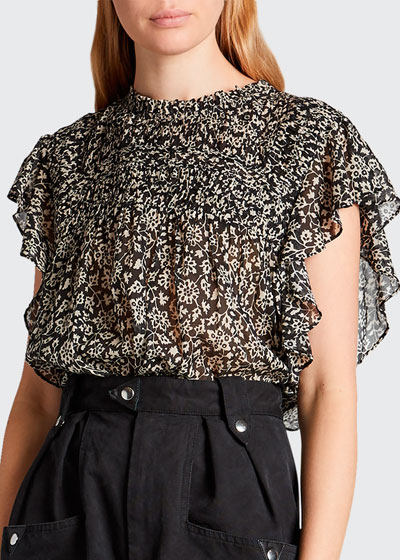 Layona Printed Flutter-Sleeve Blouse
