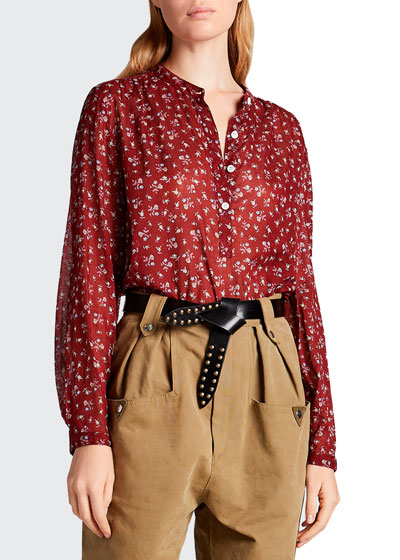 Maria Cotton Floral Long-Sleeve Blouse