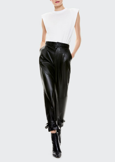 Ivette Braided Belt Leather Pants
