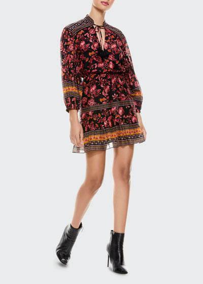 Sedona Mandarin-Collar Mini Dress