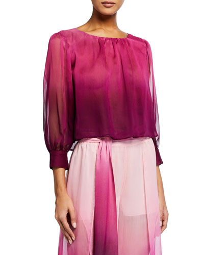 Ombre Chiffon Puff-Sleeve Crop Top