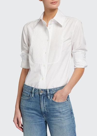 Holtz Italian Sculpted Cotton Pintucked Bib Shirt