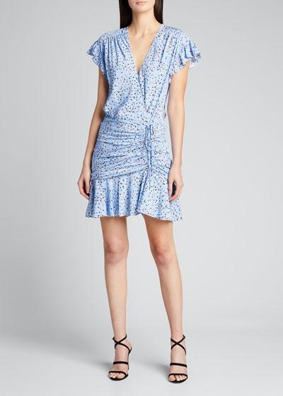 Marla Floral Print Flutter-Sleeve Mini Dress