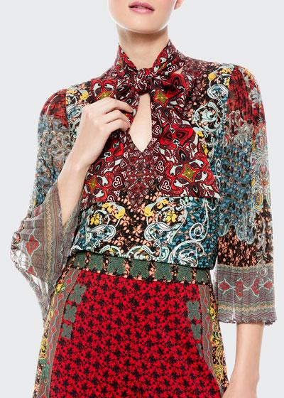 Elaina Sunburst Pleated-Sleeve Tie-Neck Blouse