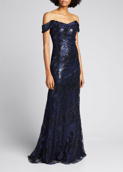 Off-the-Shoulder Embroidered Gown with Sequins