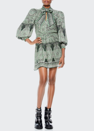 Tanisha Bishop-Sleeve Tie-Neck Dress