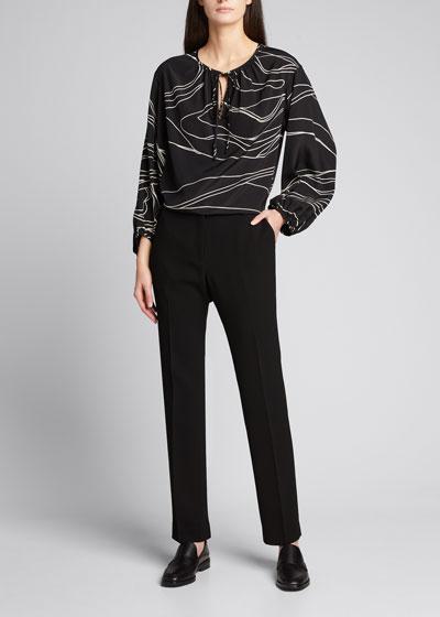 Striped Silk Georgette Tie-Neck Blouse
