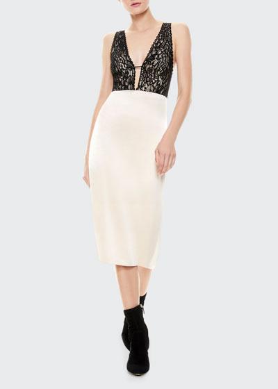 Vanita Lace Combo Fitted Midi Dress