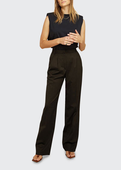 Chloe Wide-Leg Pleated-Front Trousers