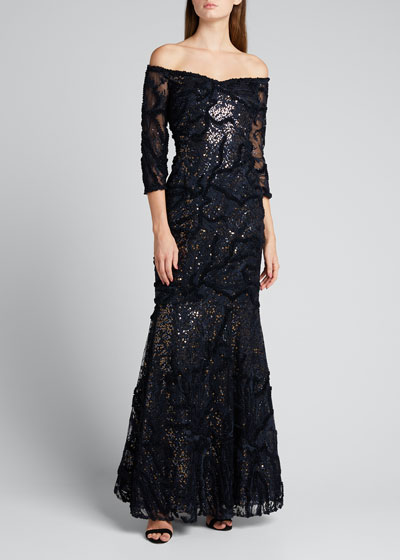 Sequin Off-the-Shoulder Elbow-Sleeve Embroidered Tulle Gown