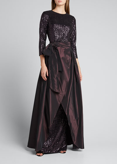 3/4-Sleeve Sequin Column Gown with Taffeta Overskirt