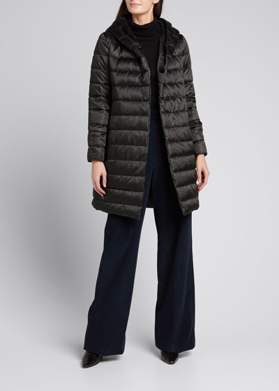 Novef Reversible Channel-Quilt Down Coat, Black
