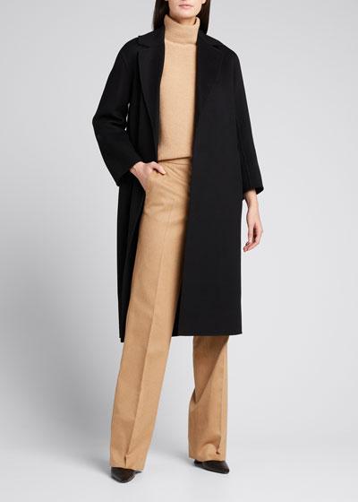 Lugano Virgin Wool Belted Coat,  Black