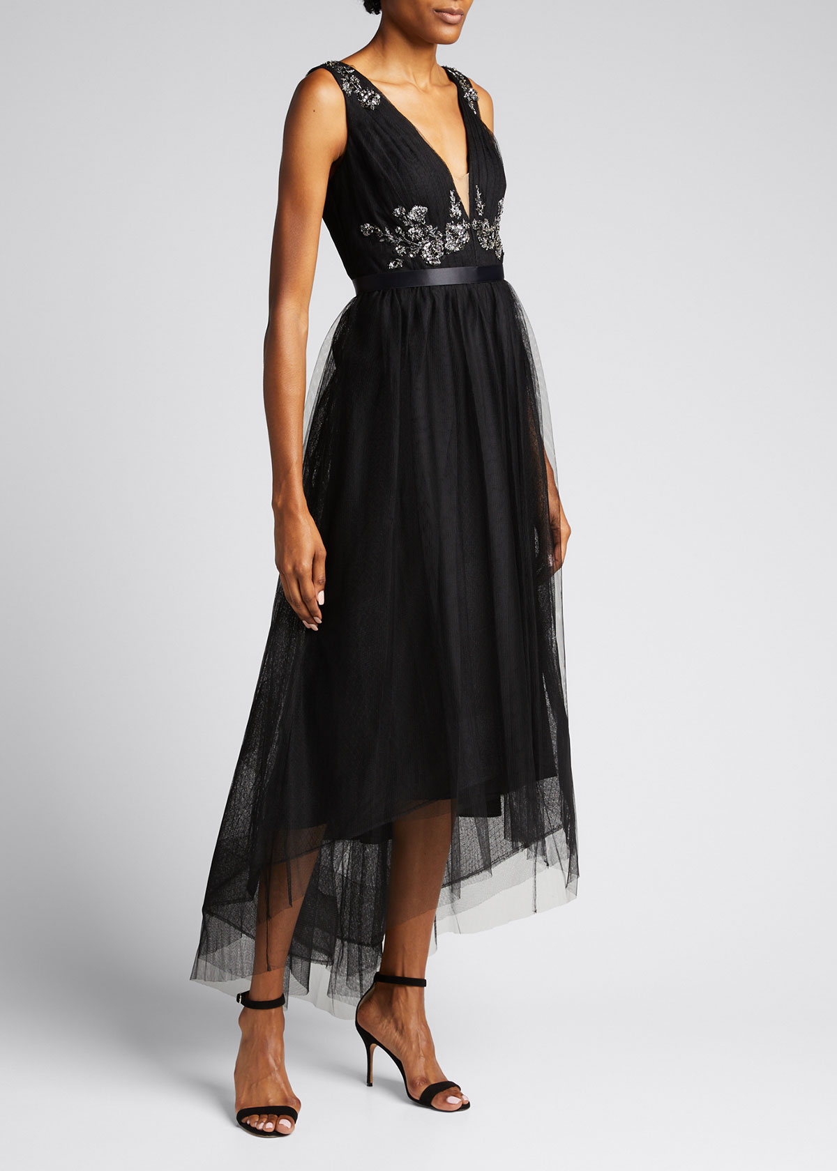 Marchesa Notte BEAD EMBELLISHED HIGH-LOW DRAPED TULLE GOWN