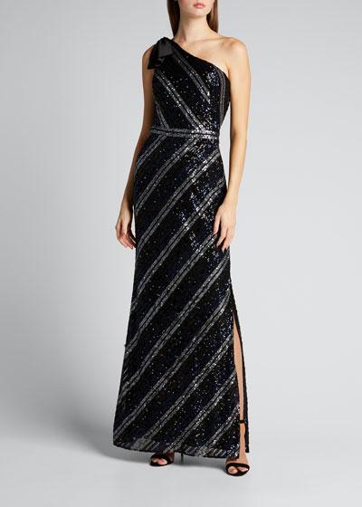 Sequin Multicolor Striped Bow-Shoulder Column Gown