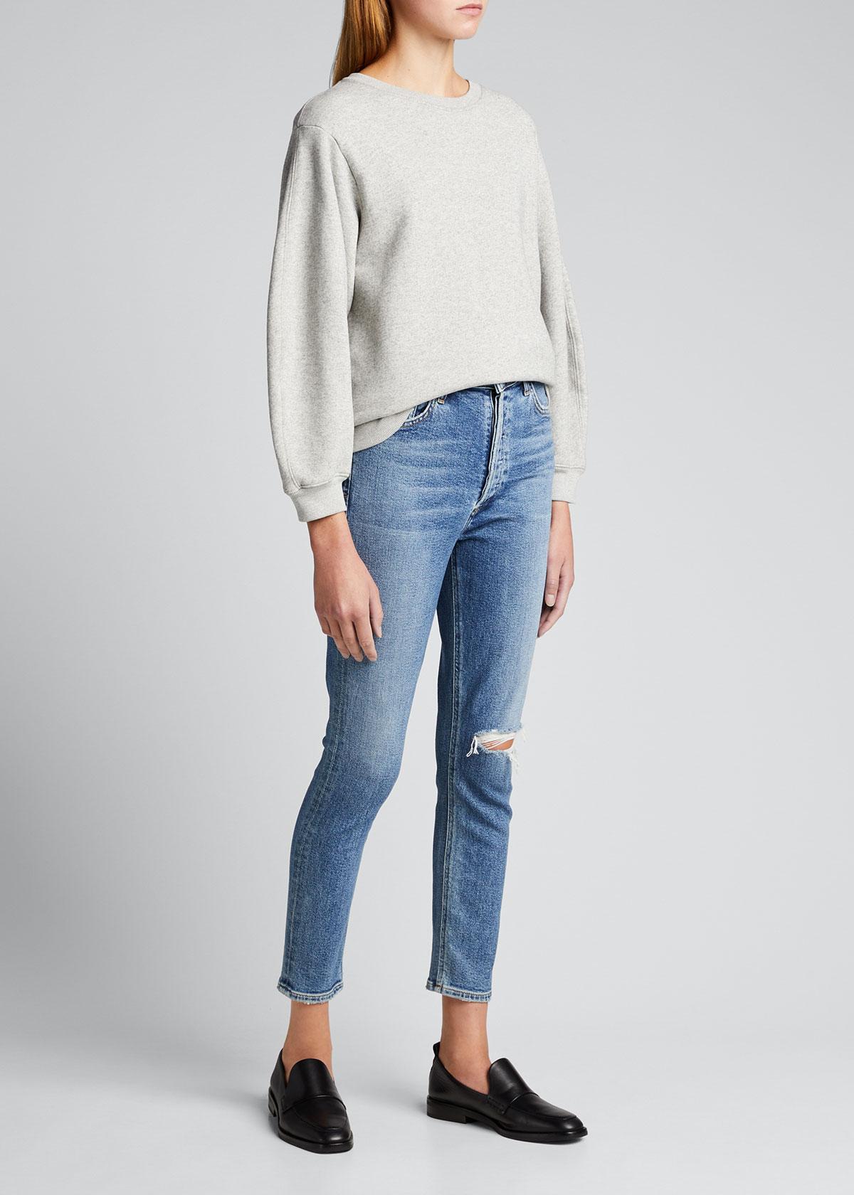Agolde Sweatshirts THORA PUFF-SLEEVE SWEATSHIRT