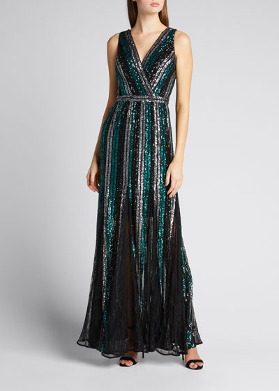Sleeveless Multicolor Striped Sequin Gown