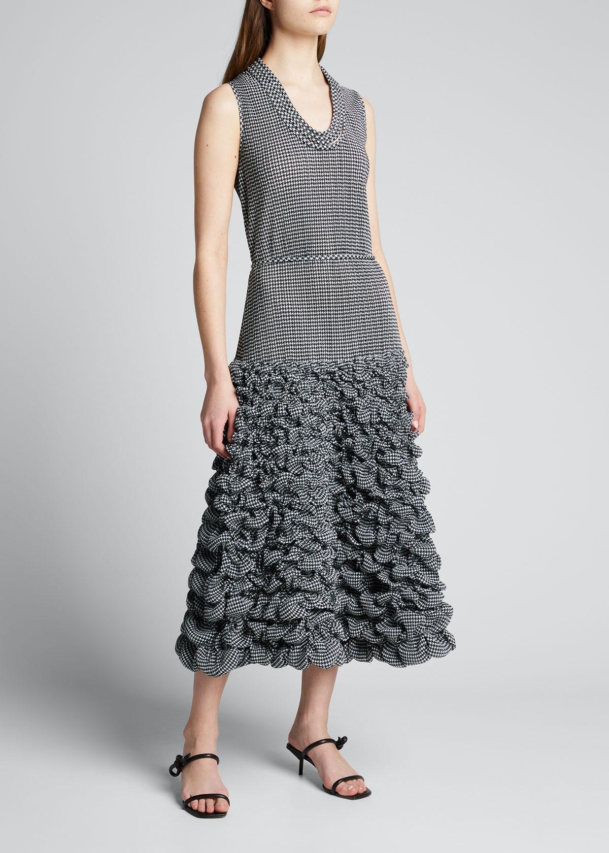 Giorgio Armani Dresses HOUNDSTOOTH PRINTED DROP-WAIST JERSEY DRESS