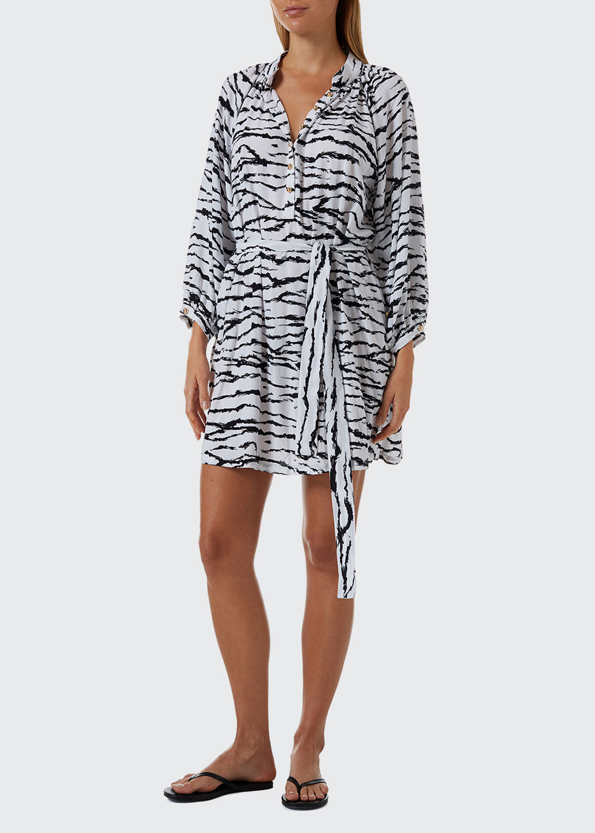 Melissa Odabash AMY TIGER-STRIPE COVERUP SHIRTDRESS