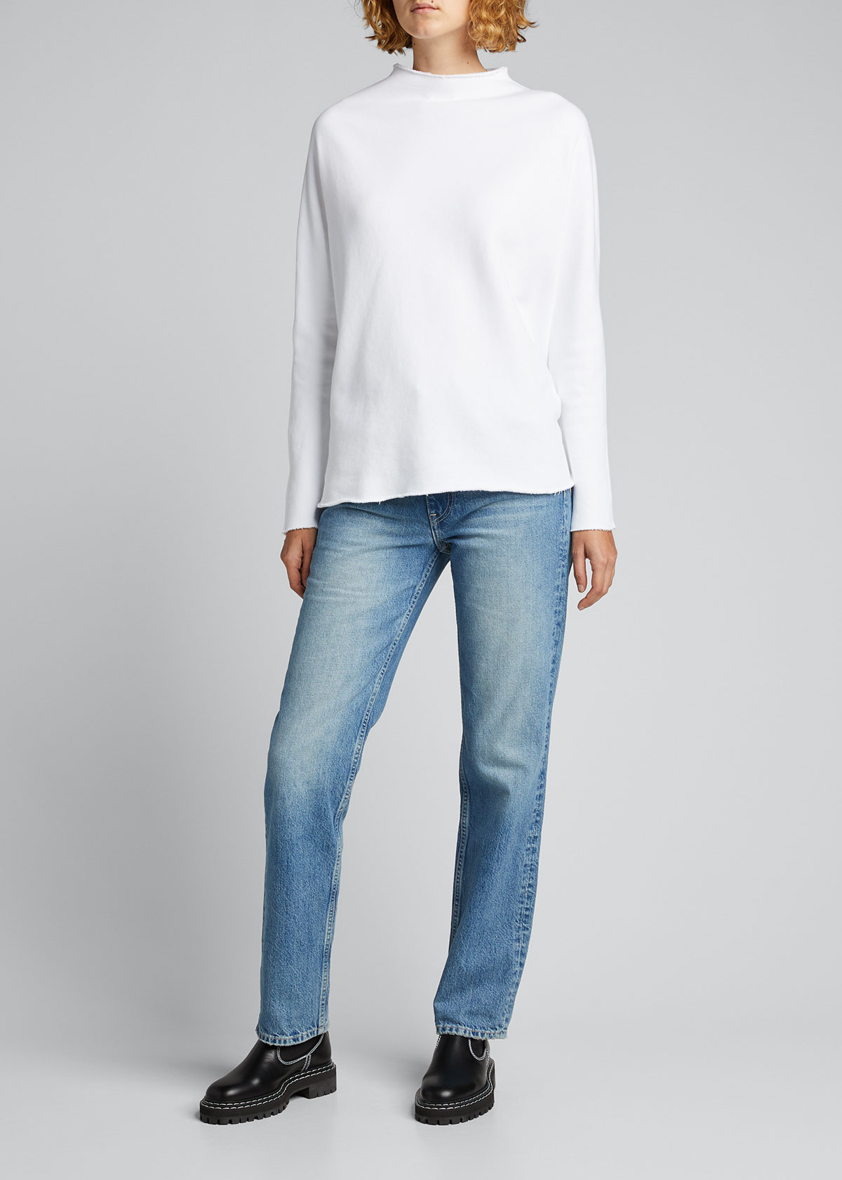 Frank & Eileen Tee Lab LONG-SLEEVE FUNNEL-NECK CAPELET TOP