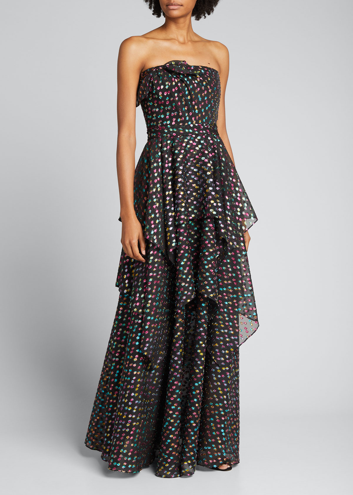 Marchesa Notte METALLIC DOT JACQUARD TIERED STRAPLESS A-LINE GOWN