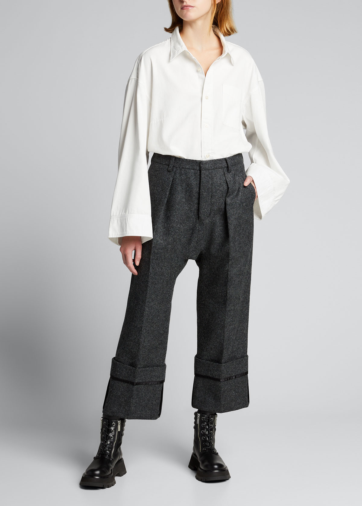 R13 DROP-CROTCH PANTS WITH WIDE CUFFS