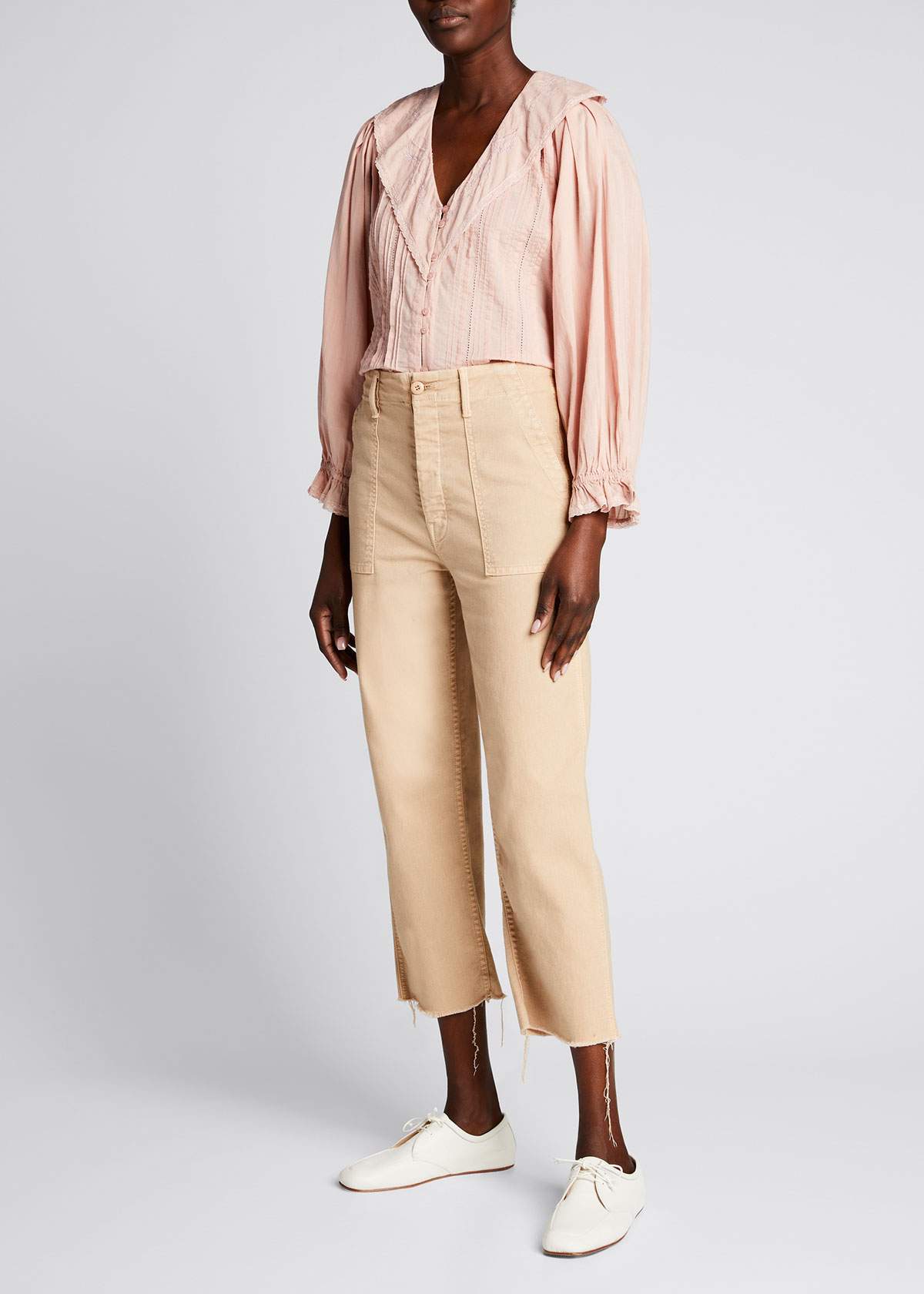The Great THE HANKIE LACE BUTTON-FRONT TOP