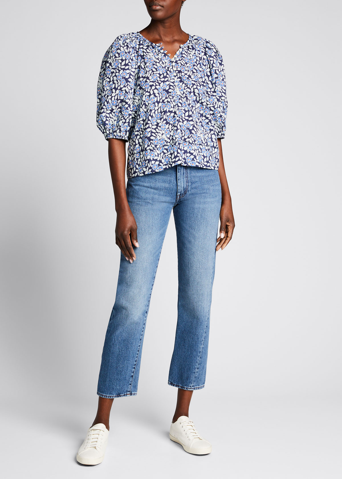 The Great THE RAVINE FLORAL-PRINT PUFF-SLEEVE TOP
