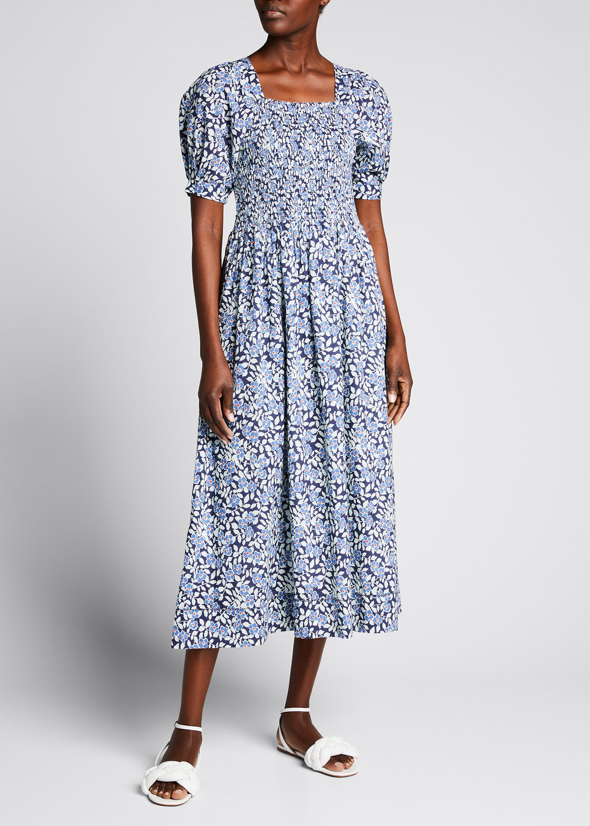 The Great THE SAVANNA SMOCKED FLORAL-PRINT DRESS