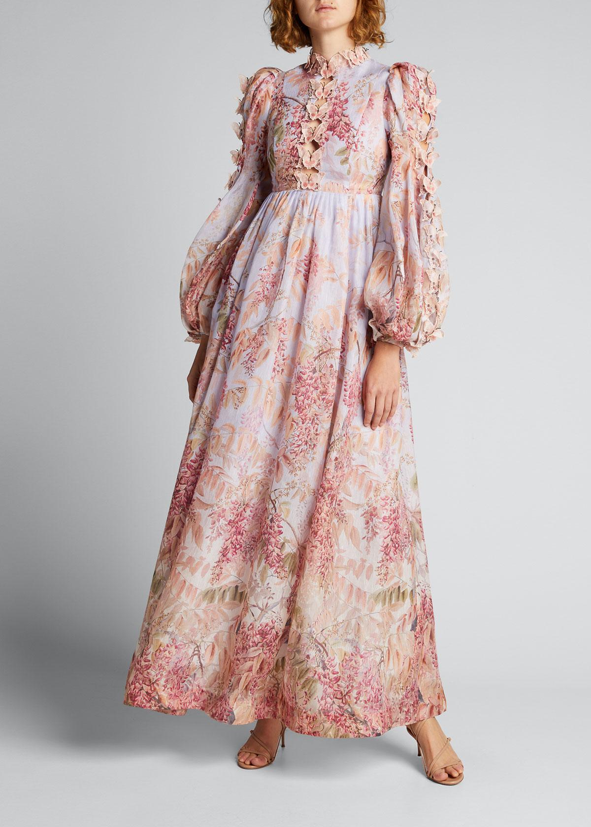 Zimmermann Linens BOTANICA BUTTERFLY ORGANZA LONG DRESS