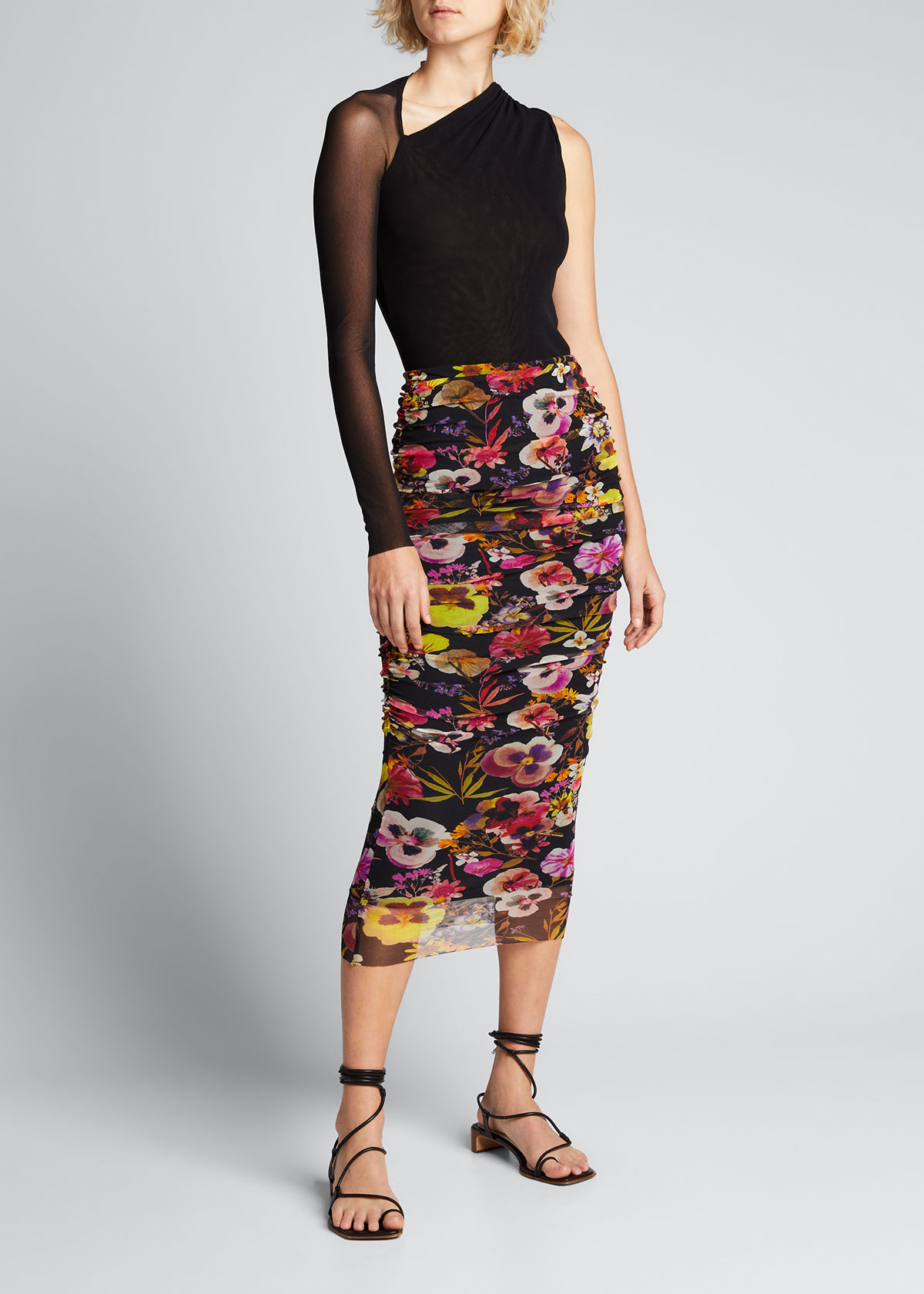 Fuzzi Skirts FLORAL PRINT LONG TULLE SKIRT