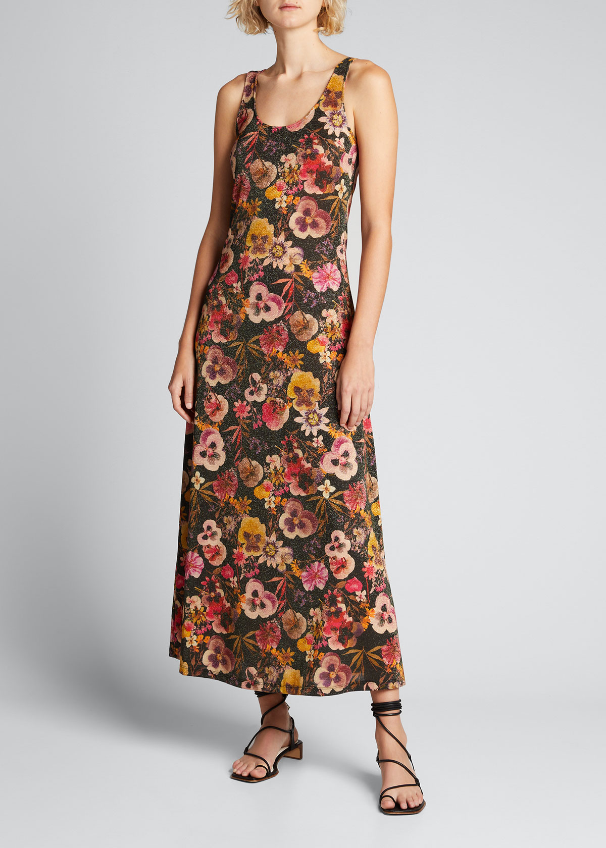 Fuzzi Dresses METALLIC FLORAL PRINT SLEEVELESS MAXI DRESS