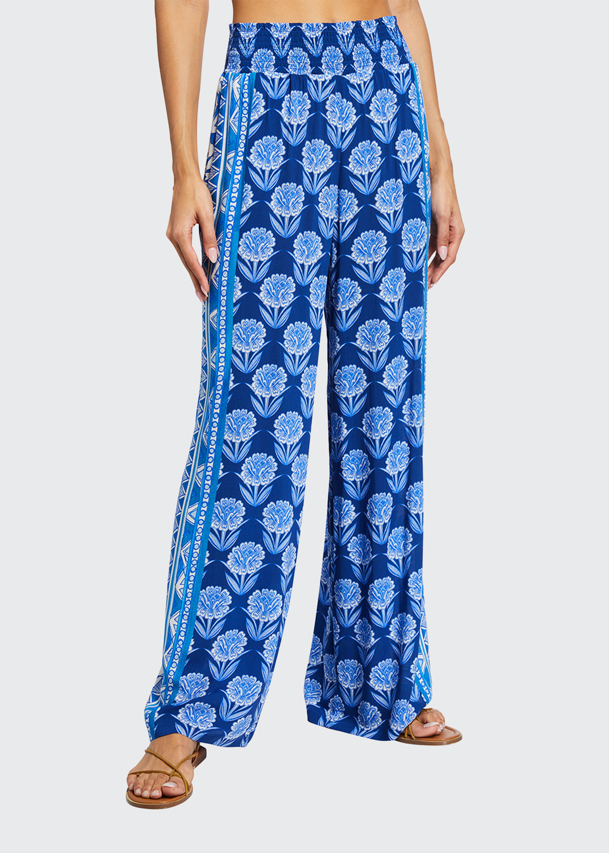 Johnny Was YAO FLORAL-PRINT PULL-ON PANTS