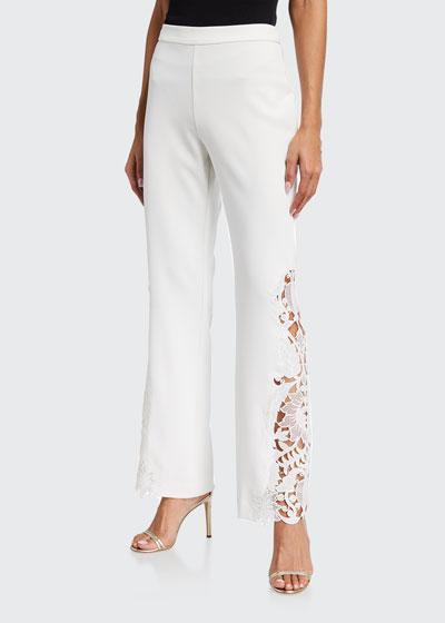 Lace-Side Boot-Cut Crepe Pants