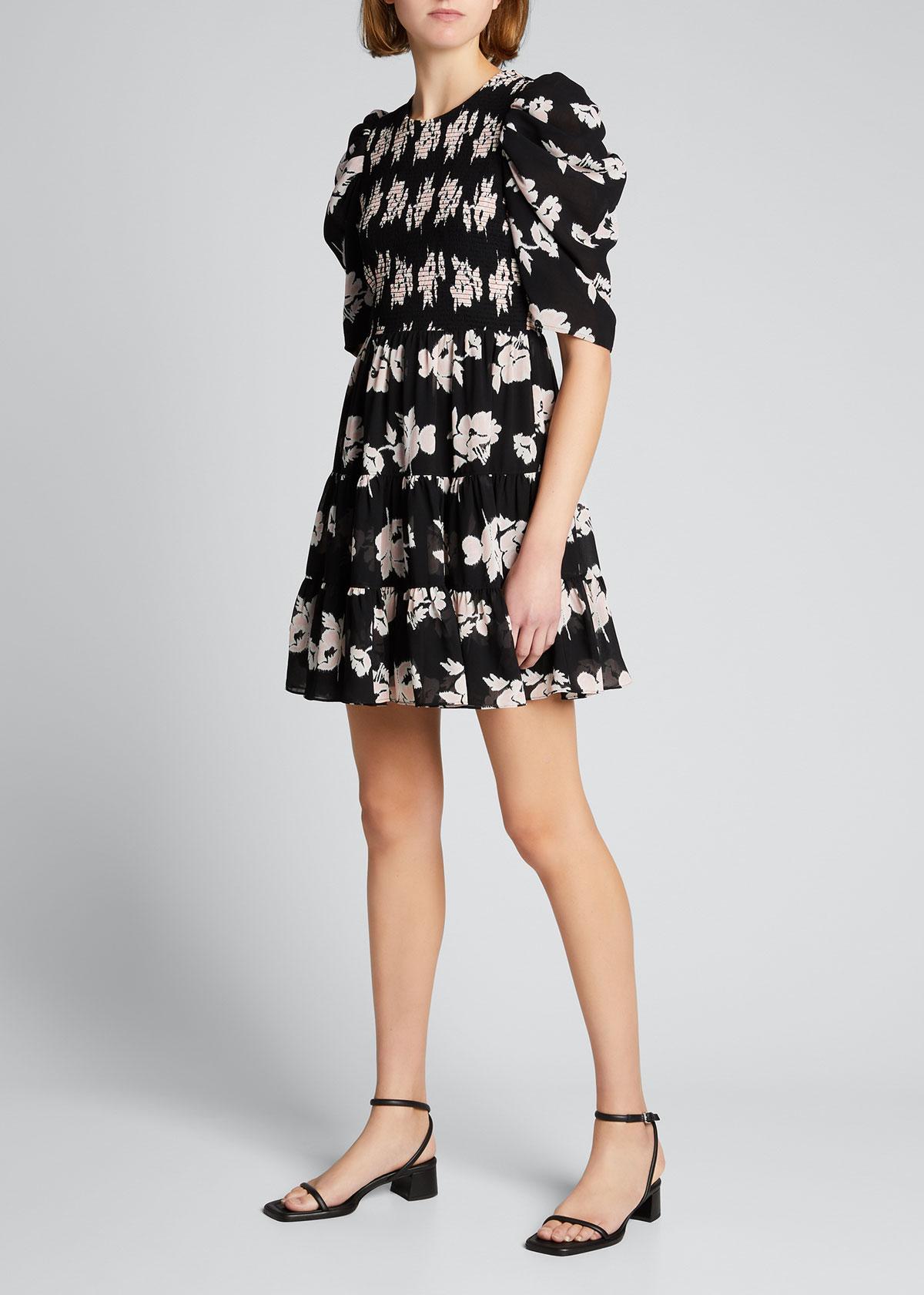 Cinq À Sept Dresses HOLLIS FLORAL SMOCKED-BODICE TIERED DRESS